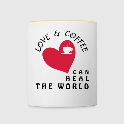 LOVE AND COFFEE CAN HEAL THE WORLD - Taza en dos colores