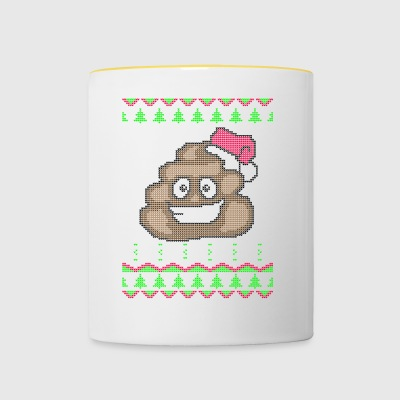 Poop Emoticon Ugly Christmas Sweater Gift - Contrasting Mug