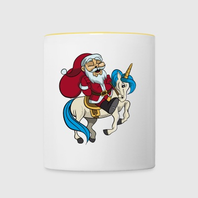 Santa riding unicorn Christmas gift - Contrasting Mug