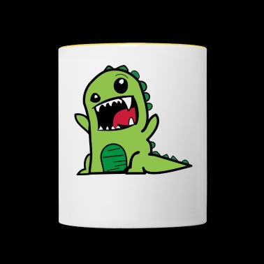Dino Comic Cartoon - Tasse zweifarbig