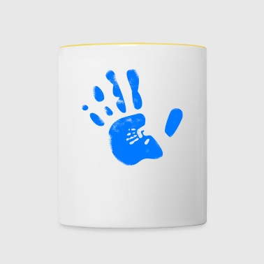 Blue handprint integrated with small hand - Contrasting Mug