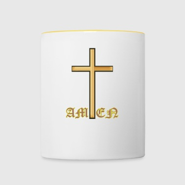 Amen Cross Religion - Tofarvet krus