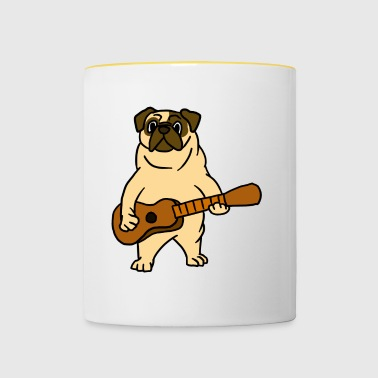 Pug Dog Playing Guitar Guitarist Cartoon Animal - Tazze bicolor