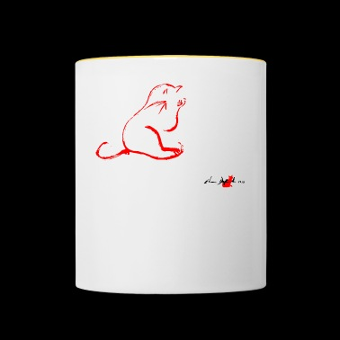 CAT CLEANING RED, CAT CLEANING, - Contrasting Mug