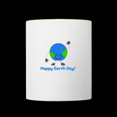 Globe Emoticon Happy Earth Day - Keep Earth Clean - Kubek dwukolorowy