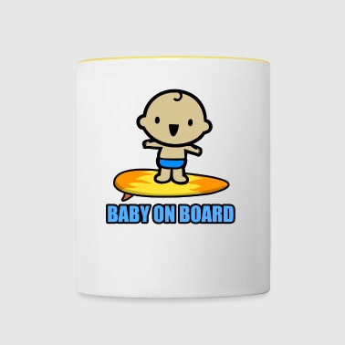 Baby on the surfboard! - Contrasting Mug
