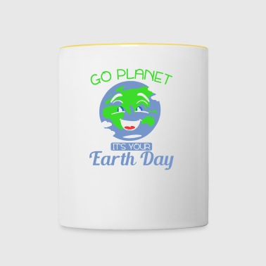 GO PLANET - IT'S YOUR EARTH DAY - WORLD - EARTH - Contrasting Mug