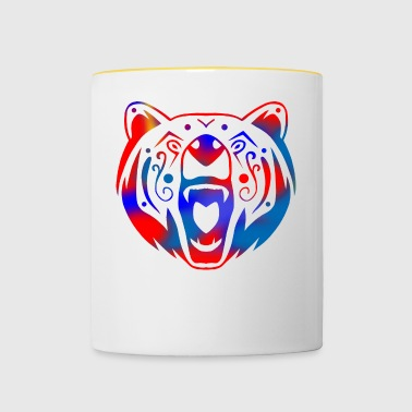 tatouage tribal d'ours (couleur) - Tasse bicolore