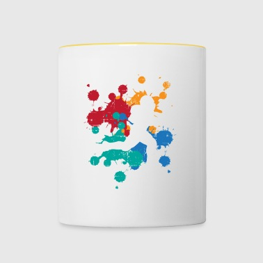 Sport Football Rugby color splash gift painter - Contrasting Mug