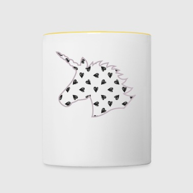Unicorn with hearts, lilac colors - Contrasting Mug