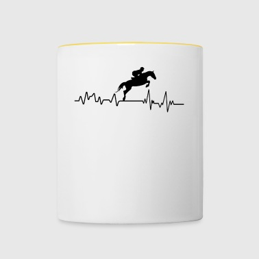 Heartbeat show jumping riding T-shirt gift - Contrasting Mug