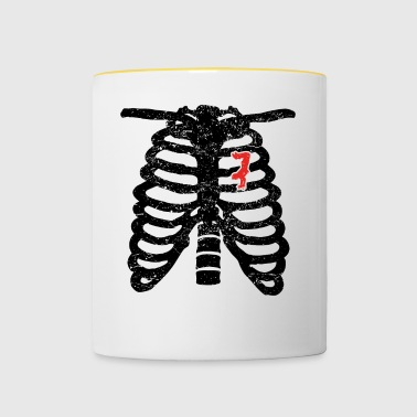 Heart skeleton heart love skateboard skateboarder ha - Contrasting Mug
