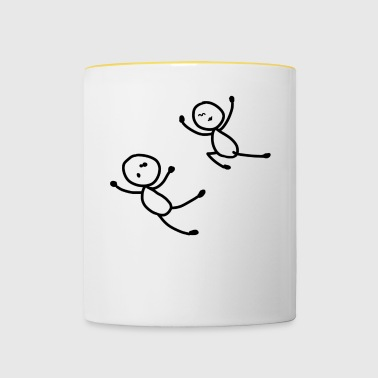 Stick Figure Funny Typical Man Woman Funny - Contrasting Mug