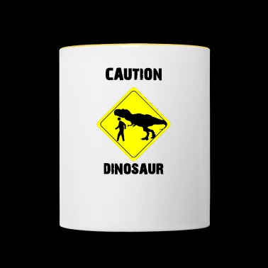 Caution Dinosaur (Stone Age Lovers) - Mok tweekleurig