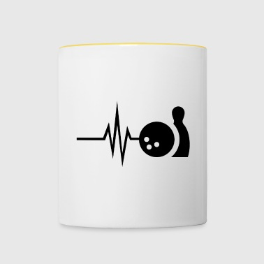My heart beats for bowling - skittles Strike Pin - Contrasting Mug