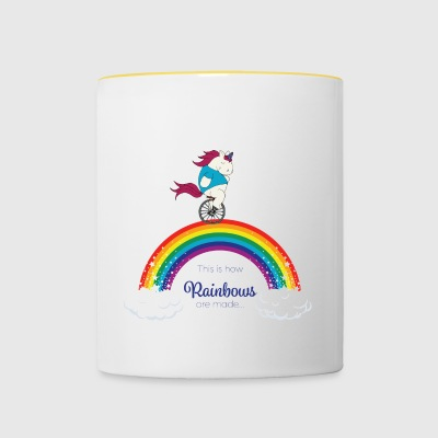 Faules Pummelhorn Einhorn | How rainbows are made - Tasse zweifarbig