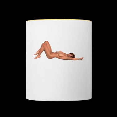 naked sexy woman without nipples with breasts gift - Contrasting Mug