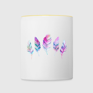 watercolor feathers - Contrasting Mug