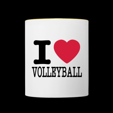 i love volleyball / ik hou van volleybal shirt - Mok tweekleurig