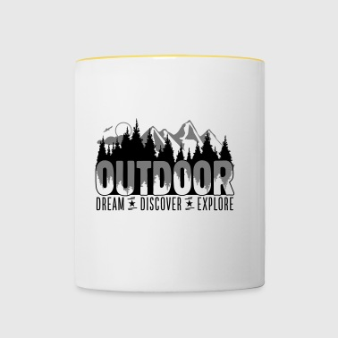 Outdoor - Dream Discover Explore - Tasse zweifarbig