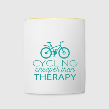 Cycling: Cycling - cheaper than Therapy - Contrasting Mug