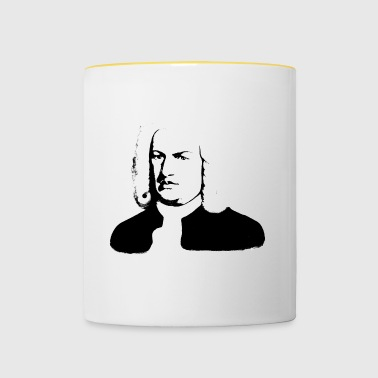 Johann Sebastian Bach abstract in zwart-wit - Mok tweekleurig