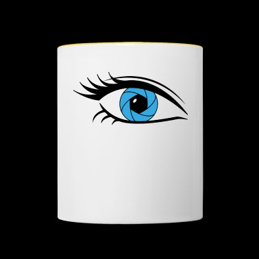 Blue eye long eyelashes - Contrasting Mug