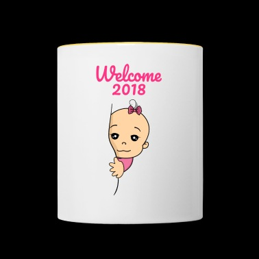 Welcome 2018 baby pregnancy - Contrasting Mug