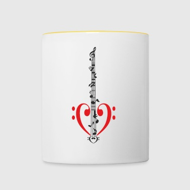 Bass guitar with body Bass clef as heart - Contrasting Mug