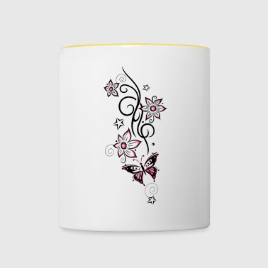 Tattoo tendril with flowers, stars and butterfly - Contrasting Mug
