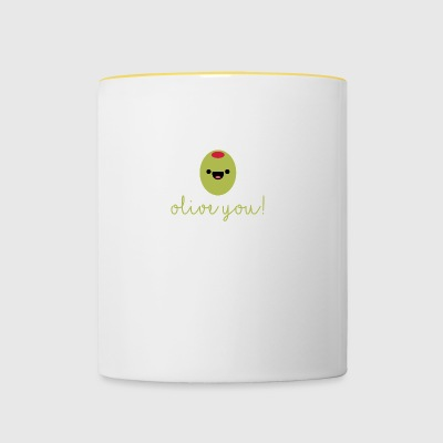 Fruit / Fruits / Vegetables: Olive - Olive you! - Contrasting Mug