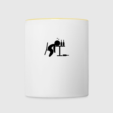 An Alcoholic Is Drunk On The Table - Contrasting Mug