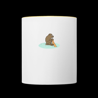animal animales roedor roedores water37 madera - Taza en dos colores