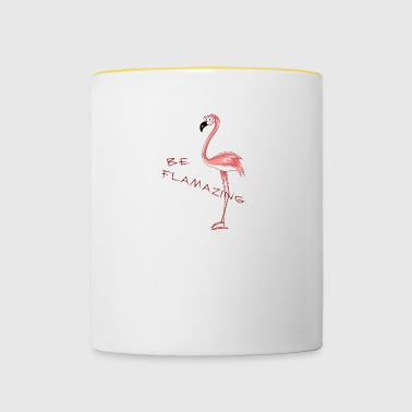 Flamazing cartoon Flamingo Girlie Gift Fun - Mok tweekleurig