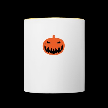 Halloween. Pumpkin. Scary. Face. Monster. Angry - Contrasting Mug