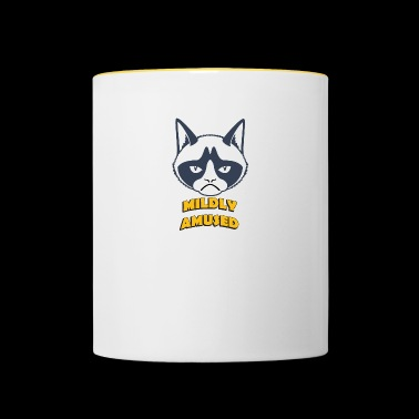 grumpy cat mildly amused coloful - Contrasting Mug