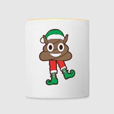 Poop Emoji Elf Merry Christmas Winter Holiday Xmas - Contrasting Mug