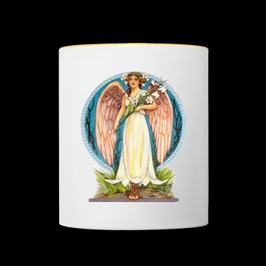 Flora the angel with lily flowers - Contrasting Mug