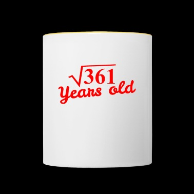 19th birthday: square root 361 years old - red - Contrasting Mug