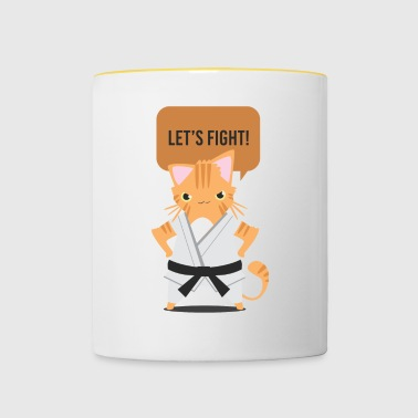 Cat karate taekwondo judo gift comic fight - Contrasting Mug