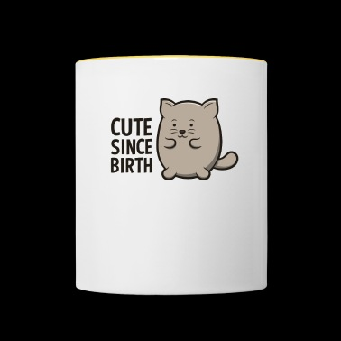 Cute Since Birth Cat Funny Lovely Kitten Shirt - Tazze bicolor