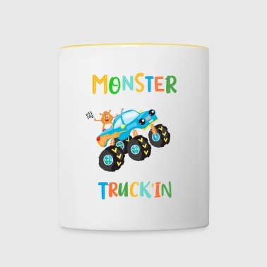 Rolig Blå Monster Truck Orange Monster Design - Tvåfärgad mugg