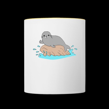 Seerobbe thumb up sea animal Sea Lion Funny - Contrasting Mug