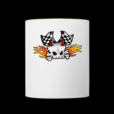 Skull with racing flags - Contrasting Mug