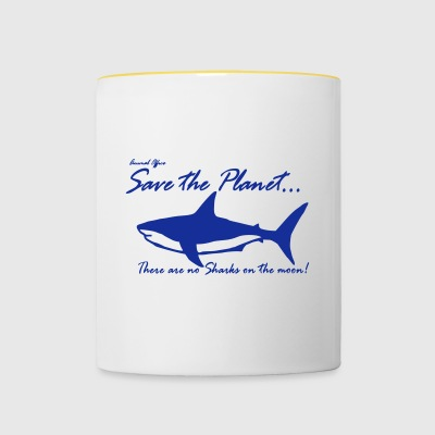 Save the planet there are no sharks on the moon - Contrasting Mug