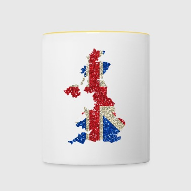 Great Britain flag map Glitter lokalna duma - Kubek dwukolorowy