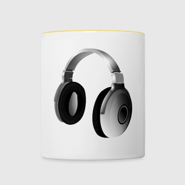 Gray audio headphones - Contrasting Mug