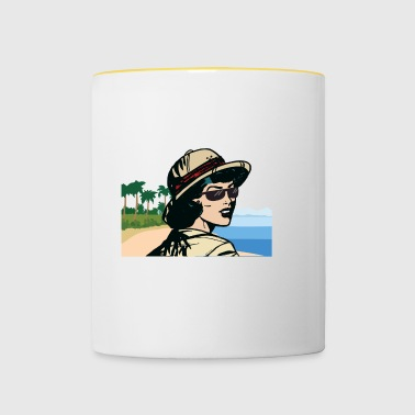 With safari hat towards the beach - Contrasting Mug