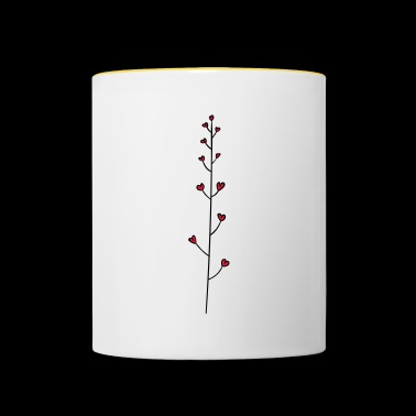 Vine with heart - flower heart - Contrasting Mug