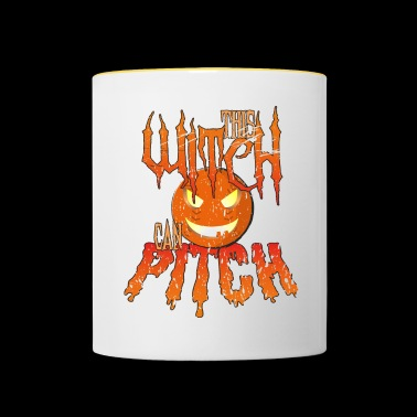 Halloween Baseball: This Witch Can Pitch! - Contrasting Mug